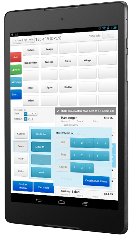 Our tablet-side application interface