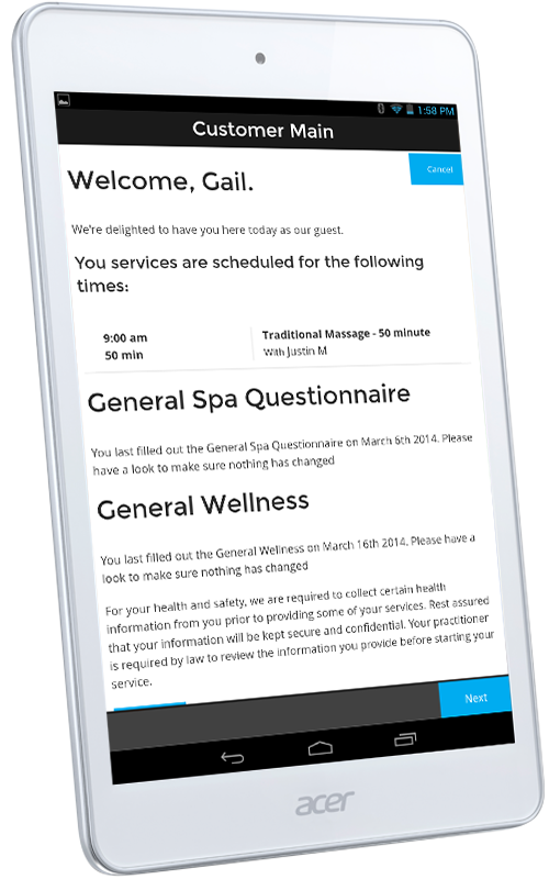 The customer questionnaire screen of our tablet-based spa check-in app.